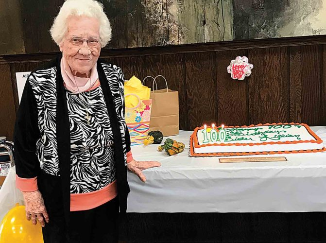 Photo Provided Sister Lillian Sleight celebrates her 100th birthday at St. Margaret Mary Church in Parkersburg.