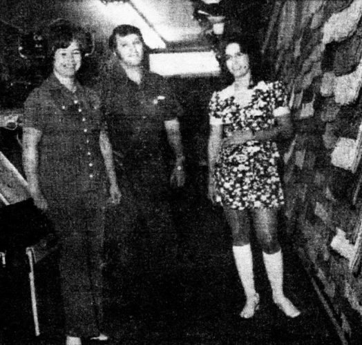 Photo Provided From left, Sara Bailey, David Bailey and Jerry Satow at the Carpet Store in Ravenswood in 1973. The store closed in 2008 and the Baileys relocated it to Little Hocking where it reopened in 2010 as Village Gifts and Home Decor.