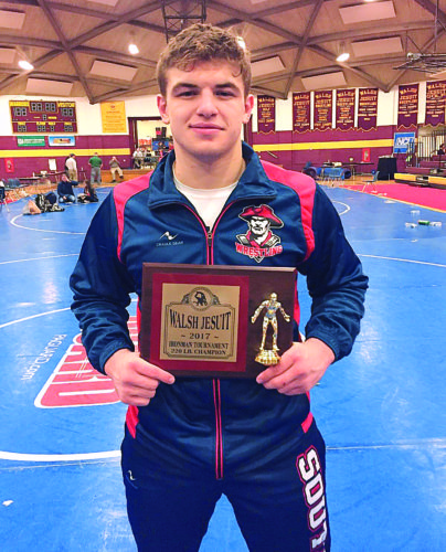 Courtesy photo Parkersburg South sophomore Braxton Amos won the 220-pound Ironman championship Saturday at Walsh Jesuit High School.
