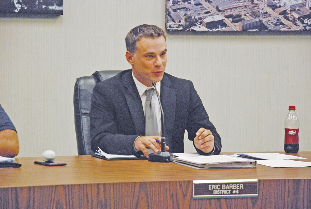 File Photo Parkersburg City Councilman Eric Barber speaks during an August council meeting. Barber pleaded guilty last week to disorderly conduct and had an obstruction charge dismissed as part of a plea agreement.