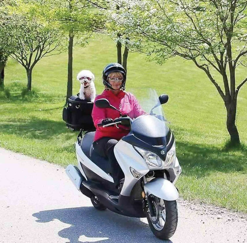 Photo Provided Sharon Carper of Parkersburg rides her scooter with Libby, a Bichon Frise, on the back. Riding her scooter with camera hand is Carper's favorite way to find photographic opportunities.