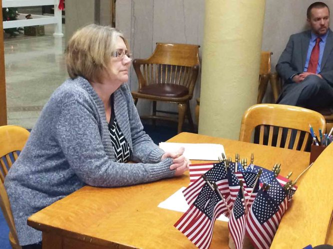 """Photo by Brett Dunlap Elizabeth """"Liz"""" Green, environmental health director for the Mid-Ohio Valley Health Department, appeared before the Wood County Commission Thursday to discuss regulations governing water wells."""