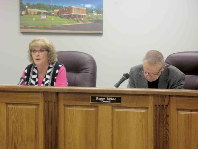 Photo by Jeffrey Saulton Vienna Recorder Cathy Smith, left, outlines her support for the police fee as Councilman Roger Bibbee, right, listens on Thursday.