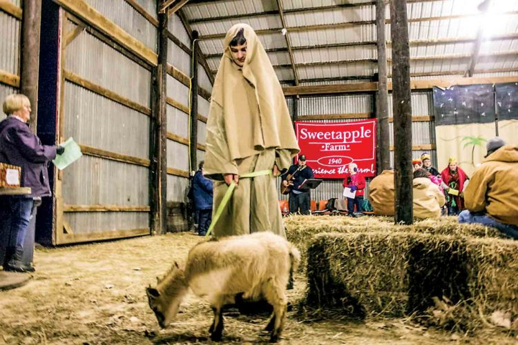 Photo by Janelle Patterson Caleb Anderson, 13, of Fleming, leads a goat through the barn of Sweetapple Farm in Vincent during the live nativity show last year.