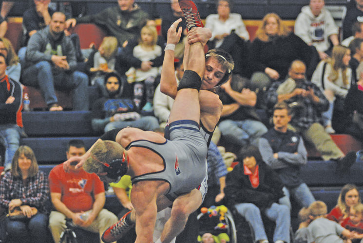 Parkersburg South 138-pounder Luke Martin registered a 26-11 technical fall victory against Independence's Tanner Harris at Thursday's triangular at the Rod Oldham Athletic Center. Photo by Jay W. Bennett.