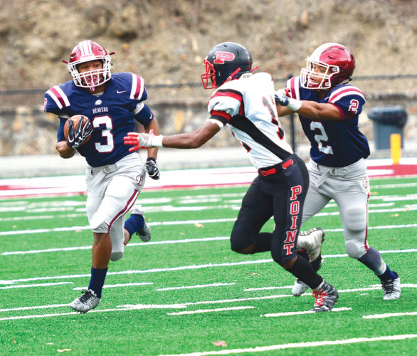 Bluefield's Mookie Collier (3) runs the ball, while a Point Pleasant defender gives chase. Collier was named the 2017 Harrison H. Kennedy Award winner by the West Virginia Sports Writers Association after he helped Bluefield to an undefeated record and Class AA state championship.