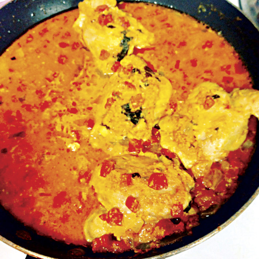 Photo by Amy Phelps Homestyle Chicken Curry was the main dish featured at the Bollywood Night party.