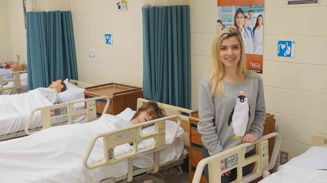 Wood County Technical Center Therapeutic Services student Hannah Shears will become a certified nursing assistant this month and plans to continue to pursue her education and a career in nursing. (Photo by Michael Erb)