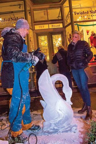 File Photo Ice sculptor and chef Tyson Whistler shows off one of his creations during last year's First Fridays Fire & Ice Night. This January marks the one-year anniversary of the series and 2018 will feature several different themes.