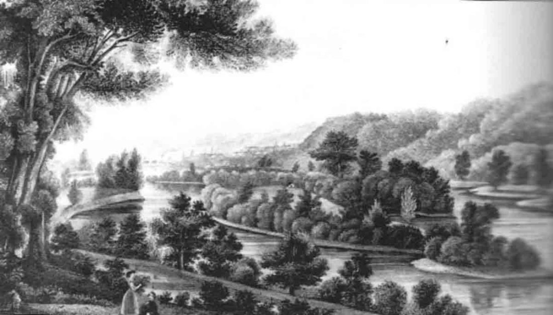 Image provided by Blennerhassett Island Historical State Park The sketch above by artist Lizzie Forbes, circa the 1850s, depicts her image of how Blennerhassett Island may have appeared, as seen from Belpre.  Since Aaron Burr's trial for treason supposedly occurred on the island, Deputy United States Marshal of Virginia, Thomas Drew was sent to Wood County to summon a jury for the trial.