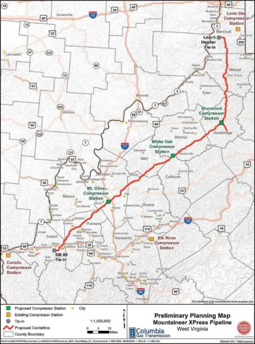 Image Provided This is the map of the Mountaineer XPress natural gas pipeline from Marshall County to Cabell County, which was approved in December by the Federal Energy Regulatory Commission. Three compressor stations in Calhoun, Doddridge and Jackson counties, each estimated to cost $100 million, will be under construction by the end of the month, officials said.