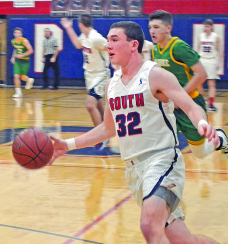 Parkerburg South's Brayden Mooney (32) drives with the ball during a high school boys basketball game against Brooke Thursday at Rod Oldham Athletic Center. Photo by Ron Johnston.