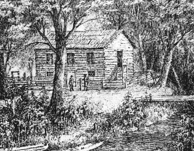"""Photo Provided The drawing above, by Joseph H. Diss Debar, depicts the second Wood County courthouse.  It was situated near """"the Point,"""" at the confluence of the Little Kanawha and Ohio rivers.  It was at this courthouse that Drew found six venire men (jurors)."""