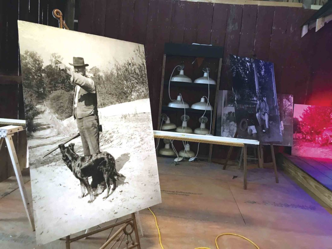 Photo by Janelle Patterson On display in the renovated barn of the Willis Hill Farm in McConnelsville, Ohio, are photographs of Rick Shriver's great-great grandfather Bill Willis that are ready to be mounted.