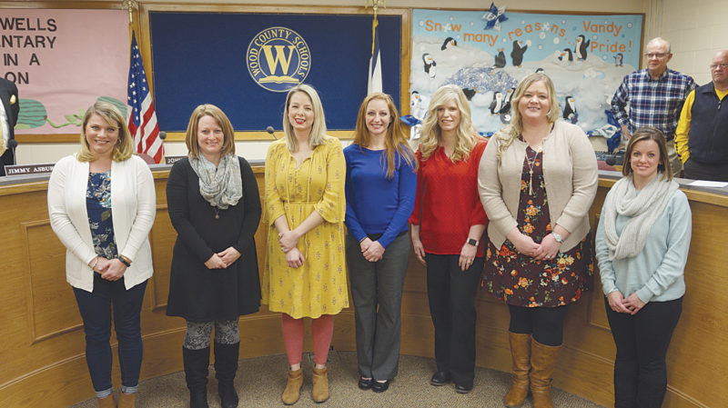 Photo by Michael Erb Wood County Schools 2017-18 National Board Certified Teachers were honored last week by the Wood County Board of Education. The teachers are, from left, Whitney Dobson, Blennerhassett Elementary School; Janette Emrick, Martin Elementary School; Koral Fleming, Franklin Elementary; Sara Klesel, Parkersburg South High School; Lisa Smith, Blennerhassett Elementary; Alisha Smithberger-Nichols, Blennerhassett Middle School; and Tiffany Spellman, Fairplains Elementary.