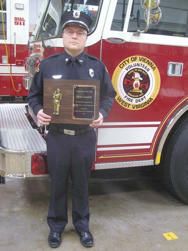 Photo by Jeffrey Saulton Mike Cundiff has been named the Vienna Volunteer Fire Department Firefighter of the Year for 2017.