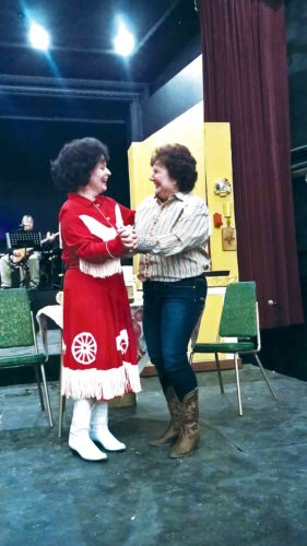 "Photo Provided Sherry Wilson Braid, left, playing Patsy Cline, and Leslie McGoron, in the role of Louise Seger, rehearse for the Mid-Ohio Valley Players production of ""Always ... Patsy Cline"" continuing tonight at the players' theater in downtown Marietta."