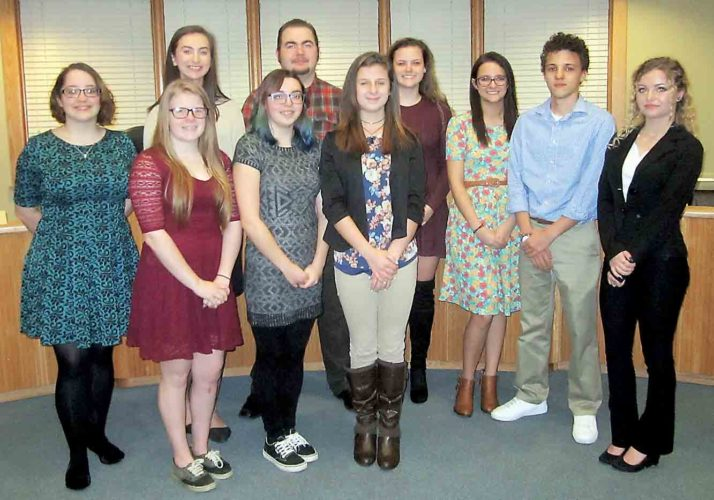 Belpre High School students participated in Student Government Day on Monday for the city of Belpre, shadowing elected officials, council members and department heads. The students were, front from left, Kaitlin Richards, Nicole Berg and Trinity Daugherty, and back from left, Elizabeth Cockerham, Katie Foster, Tristen Lockhart, Briah Kerns, Abbee Kapple, Malcolm Striblin and Gabby Blaschke. (Photo by Wayne Towner)