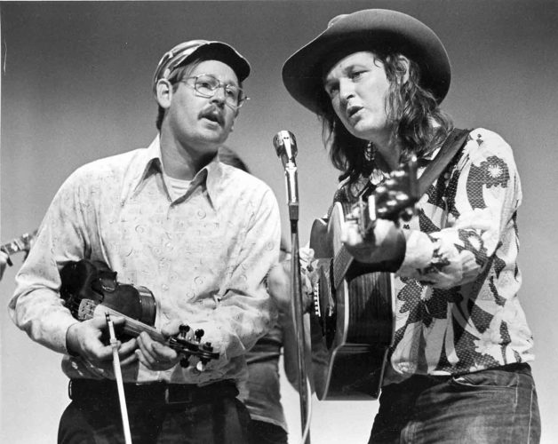 John, left, and David Morris, of the Morris Brothers, perform at the West Virginia State Folk Festival at Glenville in 1974. (Photo by Carl Fleischhauer)
