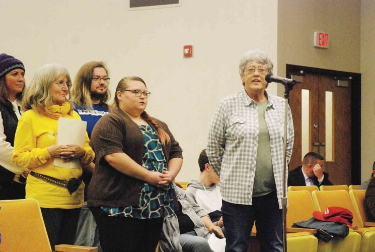 Former Parkersburg City Councilwoman Nancy Wilcox, right, speaks during the public forum portion of council's Nov. 14, 2017, meeting. Under a resolution approved earlier this month, the public forum will be limited to discussion of items on the meeting's agenda. (File Photo)