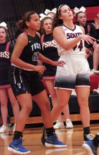 File Photo  Parkersburg South's Allie Taylor (44) prepares to point out a screen to a teammate during the Patriots' 72-59 win over Teays Valley earlier this season. Taylor has stepped up her game to help Parkersburg South to a No. 2 ranking in the state and into state title conversatons.