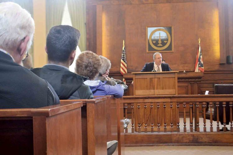"Marietta attorney Ray Smith delivers a closing argument in his role as prosecutor in ""History on Trial,"" a mock re-enactment of a 1920s bootlegging case held in the Washington County Courthouse on Monday. (Photo by Michael Kelly)"