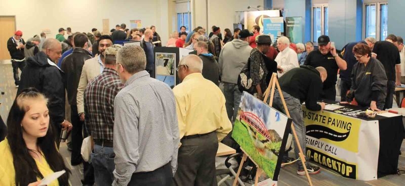 Hundreds seeking jobs fill rooms at BridgeValley Community & Technical College in South Charleston for the W.Va. Construction Trades Job Fair on Friday.  More than 50 organizations and potential employers were present to speak with job seekers. (Photos by West Virginia Press Association)