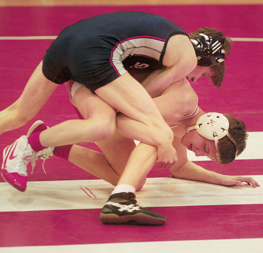 Photos by Jay W. Bennett Parkersburg South 106-pounder Devin Easton tries to control Parkersburg's Garret Donahue in a match earlier this season. The sophomore Donahue, who captured a regional title, carries a 28-6 record into today's state tournament. The freshman Easton is 29-15 and finished third in the regional.