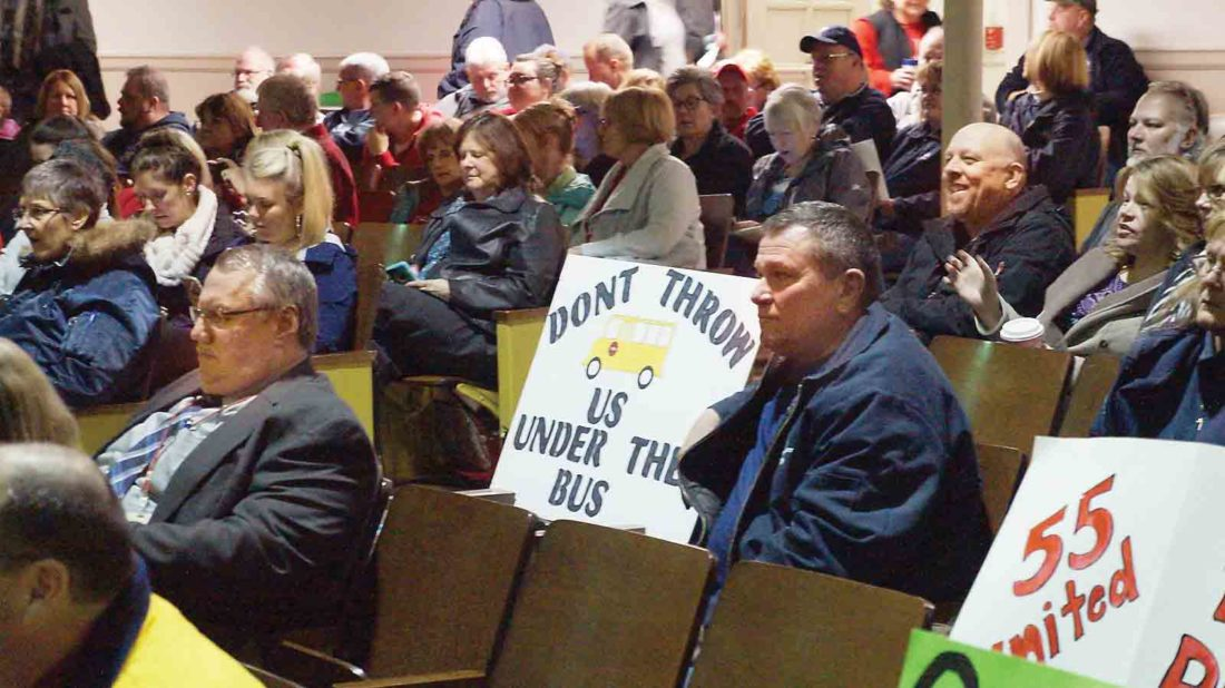 Photo by Michael Erb At the Wood County Board of Education's Feb 13 meeting, teachers and service personnel rallied asking for support in seeking higher pay and better benefits from the West Virginia Legislature. Today, teachers and service personnel will begin the first day of a two-day work stoppage to protest a lack of progress at the state level in improving pay and fixing issues with the state's PEIA insurance program.