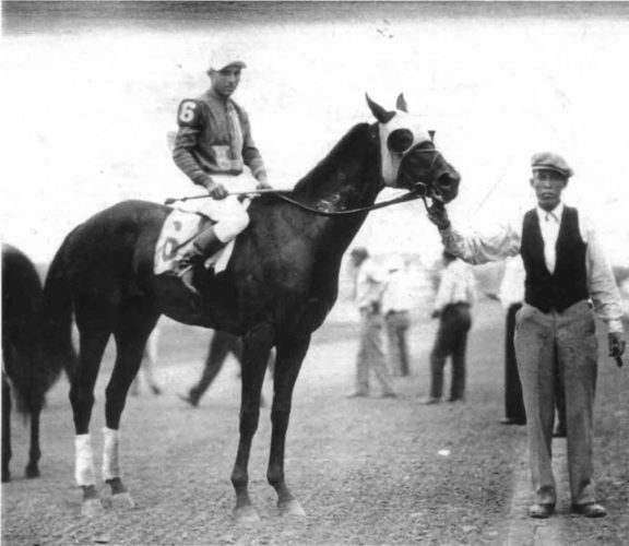 "Photo Provided The caption on the reverse of the photo reads, ""Parkersburg"" at Thistle Downs Park, Cleveland, Ohio, August 2, 1932.  Owners, Charles D. Jones and Tom Keating; up (#6) is J. Dyer."