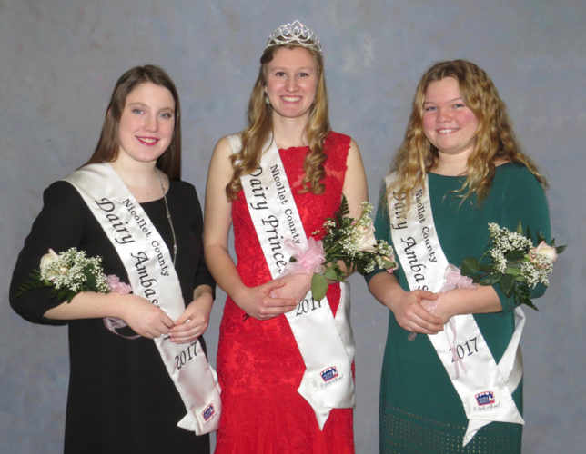 Photo by Ruth Klossner Nicollet County Dairy Princess Emily Annexstad, center, with county dairy ambassadors Grace Pehrson, left, and Jennifer Wear.