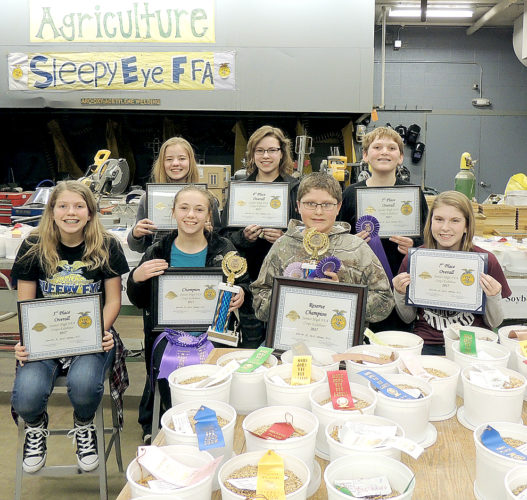 Submitted photo The overall top ten individuals of the 2017 Jr. High Crop Show: Front- l to r: Morgan Hoffmann, Carmen Lendt, Logan Mickelson, Maddison Helget. Back- Miah Braun, Mackenna Fischer, and Trey Heiderscheidt. Not pictured: Jack Schroepfer, Toby Weiss, and Emma Schieffert.
