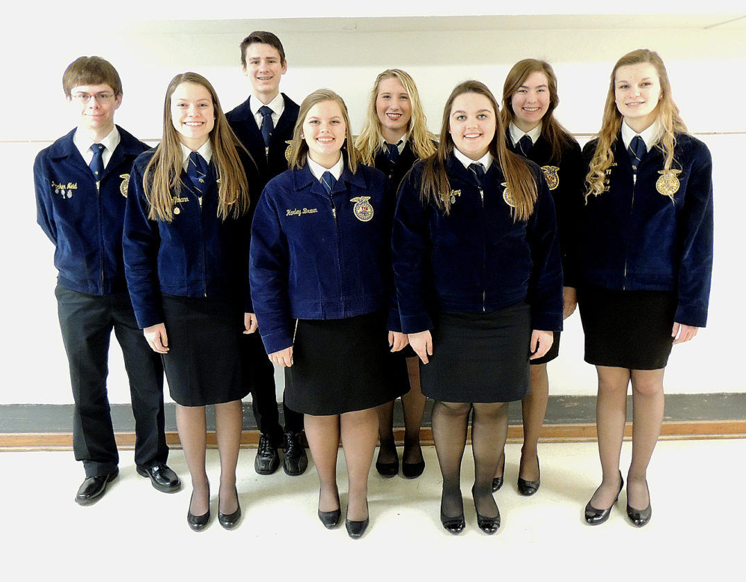 Photo from Sleepy Eye FFA The Sleepy Eye FFA Proficiency applicants for 2017 included: (Front l-r): Cassidy Hoffmann, Harley Braun, Josie Lang, Parker Neid, Isaac Nelson, McKenzie Cselovszki, Cassidy Hacker, and Isabella Portner.