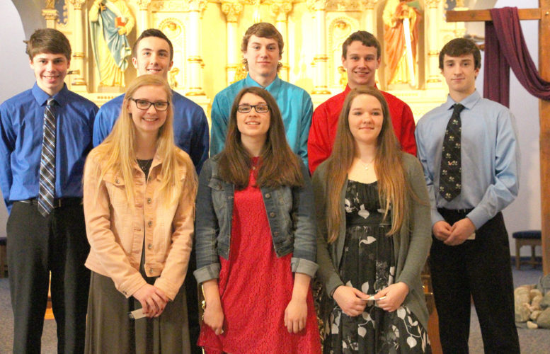 The Cathedral High School chapter of the National Honor Society held its induction ceremony on Tuesday, April 4, following a student Mass at the Cathedral of the Holy Trinity. Students are selected for their outstanding qualities of scholarship, leadership, service, and character. New members pictured from left to right. Row 1:  Mary Herzog, Bridget Grathwohl and Heidi Hoffman. Row 2: Ethan Kirchberg, Mark Schommer, Alex Hillesheim, David Berg and Josh Seidl.