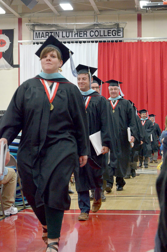 "By Connor Cummiskey Staff Writer  NEW ULM — The 2017 class at Martin Luther College (MLC) received their degrees and holy commission Saturday morning. Presiding Minister Rev. Paul Koelpin conducted the commencement service for 145 graduating students.  There were 29 Bachelor of Arts, 89 Bachelor of Science in Education, five Bachelor of Science, four seminary certifications and 18 Master of Science in Education awarded. MLC President Rev. Mark Zarling presented the sermon from the text John 16:33 chosen by the class.  The theme of the commencement was ""Courage for the Commission."" Zarling emphasized that the graduates should look for strength and courage in their faith. ""You've been taught that it's all about Christ's power, not your strength,"" Zarling said. ""It's all about Christ's message, not your smarts. It's all about Christ's saving love, not your emotional friendliness. You go forth for one reason: Jesus, always Jesus. As you step forward to carry Jesus' name on your lips and in your lives, the words you chose will bring you courage. Courage is needed, for the task is impossible without the courage Christ provides."" The sermon explained the importance of the commission the graduates have received. Zarling referred to it as the great commission. Zarling further described the commission as going with the love of Jesus Christ to those lost. It is the only commission ever given that is eternally impactful for every soul, he said. ""It will not be easy,"" Zarling said. ""This commission will bring difficulty, hardship, suffering and perhaps even death. But don't be frightened. It is a commission that will bring you blessing. Listen to Jesus, and you will always have peace in him. In love Jesus tells you what to expect, so you are prepared with the sword of the Spirit and the power of prayer.""  Connor Cummiskey can be emailed at ccummiskey@nujournal.com. ——— Master of Science in Education recipient Kate Krieger leads Martin Luther College graduates from the gym during the recessional at the end of the commencement ceremony Saturday. See more photos on page 7A."