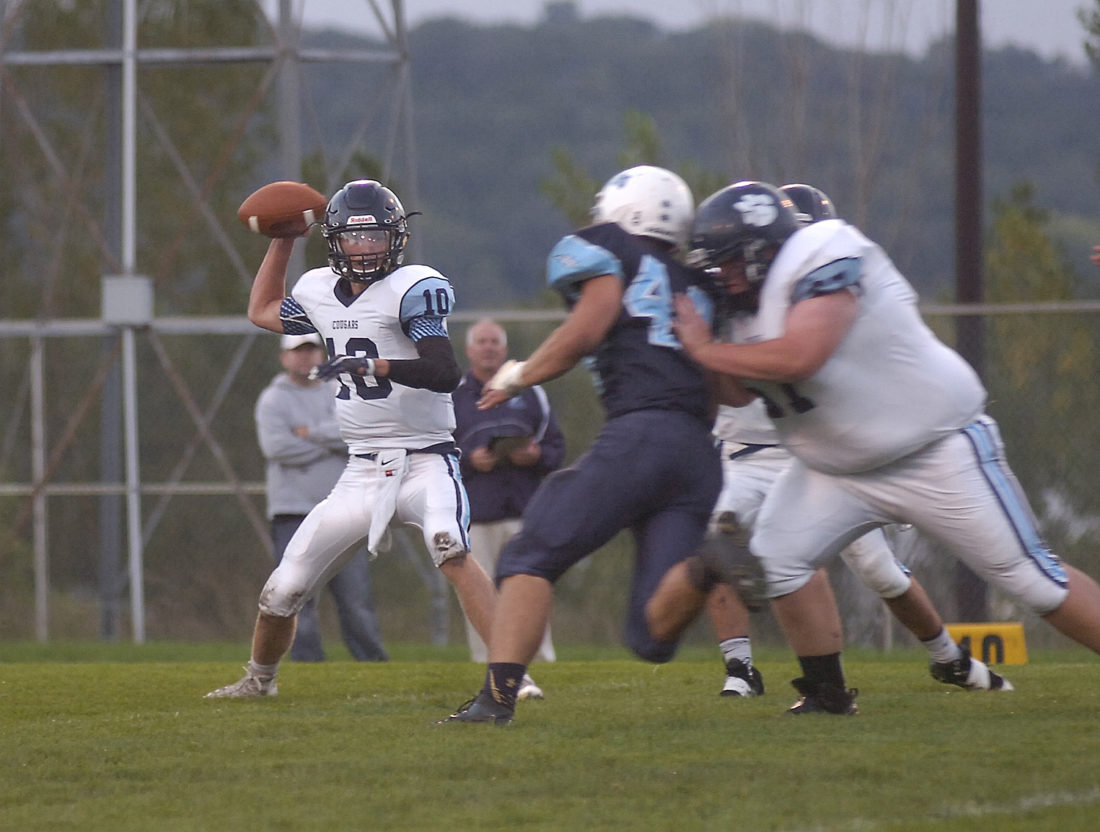 Journal file photo Cedar Mountain/Comfrey (in white) is moving to 9-man football this coming season.