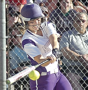 New Ulm senior catcher Camryn Schiro drives a pitch during the Eagles loss in the Section 2AAA championship game against Mankato West Wednesday at Caswell Park in North Mankato.