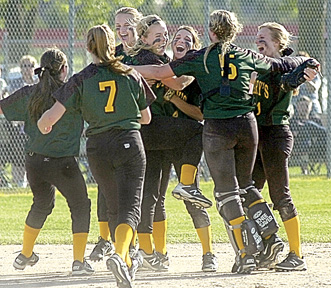 Staff photo by Steve Muscatello Members of the Sleepy Eye St. Mary's softball team celebrate after defeating Mankato Loyola in the Section 2A championship game Thursday at Caswell Park in North Mankato. For more photos of this event go to cu.nujournal.com