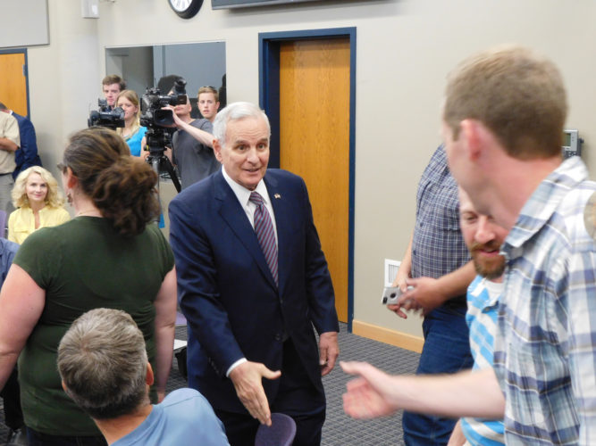 Staff photo by Clay Schuldt  Gov. Mark Dayton visited Mankato Tuesday afternoon, to discuss his action on budget bills recently passed by the Minnesota Legislature.