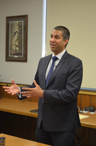 Staff photo by Connor Cummiskey  The Chairman of the Federal Communications Commission Ajit Pai spoke to reporters at the Christensen Communications Company after a roundtable discussion with area telecommunications companies.