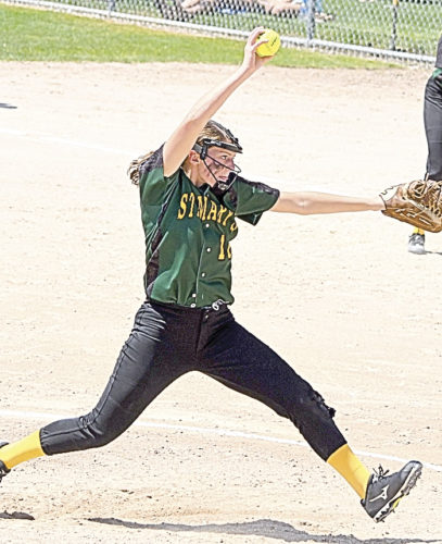 Photo courtesy of Don Borstad Sleepy Eye St. Mary's starting pitcher Anna Lux tosses a pitch during the Knight's opening round win against Pillager in the Class A State Tournament on Thursday at Caswell Park in North Mankato.