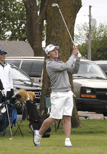 Journal File Photo New Ulm's Glavine Schugel tees off at the Section 3AA golf meet. The Eagles will be competing in the Class AA boys' state golf meet beginning on Tuesday in Jordan. It's the first time they've qualified for state since 2013.