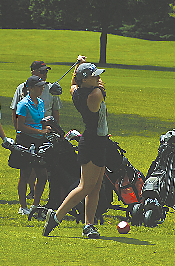 Staff photo by Jeremy Behnke Springfield's Callie Wersal tees off on the 10th hole at the Class A Girls' State Golf Tournament on Wednesday in Becker.