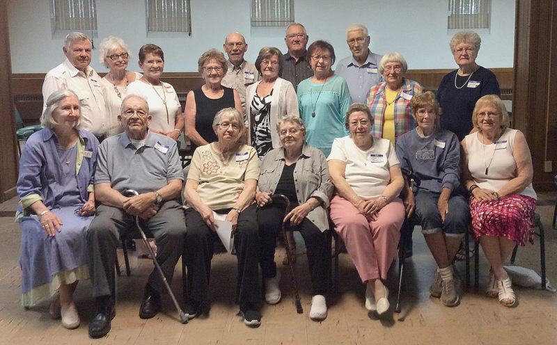 Submitted photo  Holy Trinity High School Class of  1954 had a 63rd reunion on June 7, 2017 at Turner Hall in New Ulm. Pictured in the first row, left to right are : Shirley (Fleck) Phillips, Marcus Faerber, Loraine (Portner) Guggisberg, Marian (Traurig) Petterson, Jean (Kunz) Ramsdell, Madlyn (Schneider) Halvorson, Shirley (Hauser) Carrier. In the second row, from left, are: Joe Wech, Helen (Fleck) Engelking, Arlene (Fleck) Nibbe, Joan (Palmer) Gleisner, LaVonne (Forst) Ebert, Joleen (Reinarts) Greene, Harriet (Braunreiter) Reiser, Louella (Klinkner) Heiling.Back row: Bernard Baumann, Leo Schlumpberger, John Henle.