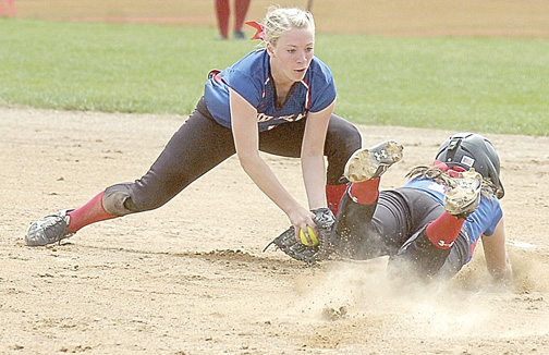 Staff photo by Steve Muscatello  New Ulm 16U shortstop Carli Botten tries to tag out New Ulm 18U baserunner Camryn Schiro as she slides into second during Windmill Classic Tournament action Sunday at Harman Park in New Ulm. For more photos of this event, go to cu.nujournal.com.