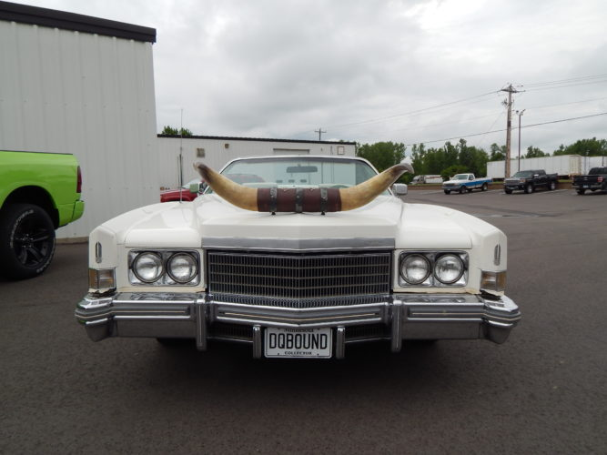 Staff photo by Fritz Busch  John Eichinger's 1974 Cadillac El Dorado convertible includes horns on the front end and personalized collector license plates.
