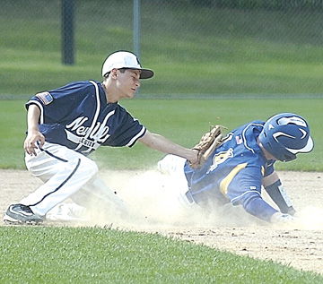 Staff photo by Steve Muscatello New Ulm VFW Silver's Jordan Maki tries to tag Wayzata's Cole Seyfort before he gets to the base during Junior Upper Midwest Classic action Saturday at Johnson Park in New Ulm. Seyfert was safe on the play. For more photos of this event go to cu.nujournal.com