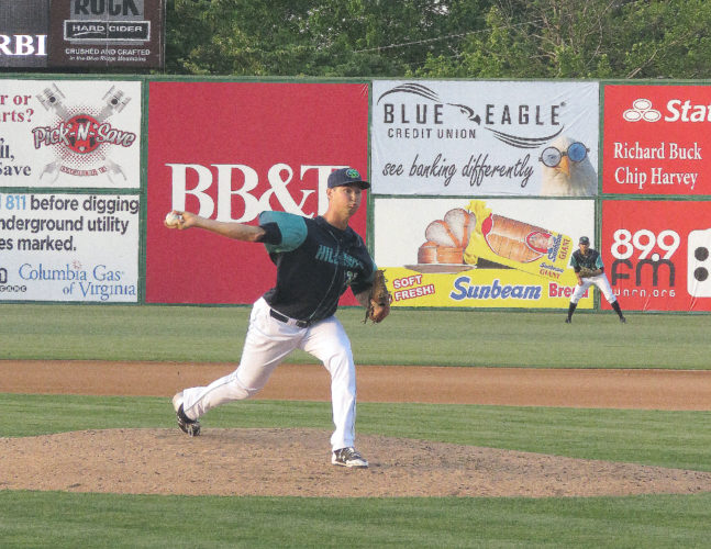 Submitted photo Jordan Milbrath delivers a pitch with his new sidearm motion with the Lynchburg Hillcats, a Class A team in the Cleveland Indians minor league organization. Milbrath switched his delivery style prior to the start of the season because the Indians thought it could be his fastest way to reaching the majors.