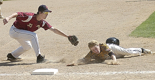 Staff photo by Steve Muscatello  New Ulm VFW Gold's Teagan Kamm slides into third past Maple Grove third baseman Dylan Peck during Maple Grove's win in the Junior Upper Midwest Classic Sunday at Johnson Park in New Ulm. For more photos of this event go to cu.nujournal.com.