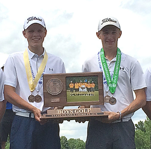 Submitted photo Sleepy Eye United's Ben Laffen (left) and Caleb Christensen were named the 2017 All-Journal Boys' Golfers of the Year.